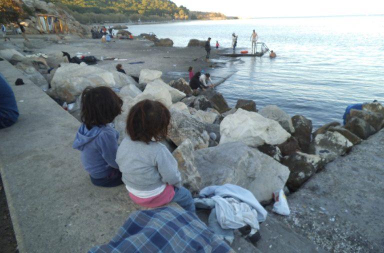 Flotadores en Lesbos